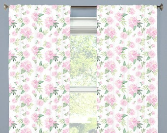 Pink Floral Curtains Etsy