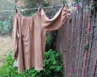69c0030ee55 Womens XLG - 2X Renaissance Chemise Blouse Tan Cotton Gauze Tunic Long  Sleeve