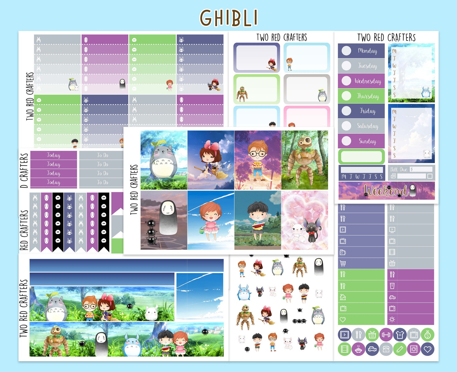 Kawaii Ghibli Studio Planner Sticker Kit