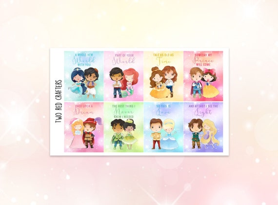 Kawaii Disney Princesses Princes Quotes Stickers Etsy