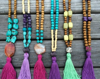 Tassel Necklace - Long Beaded Necklace - Wood Necklace - Bohemian Necklace  agate necklace - 1 piece