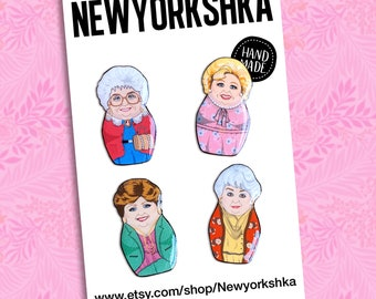 Golden Girls Mini Dolls Pins Set.....and Magnets...and Masksessories