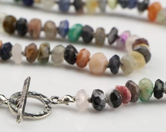 SALE...Hand Knotted, Mixed, Gemstone Necklace with Sterling Silver Toggle Clasp