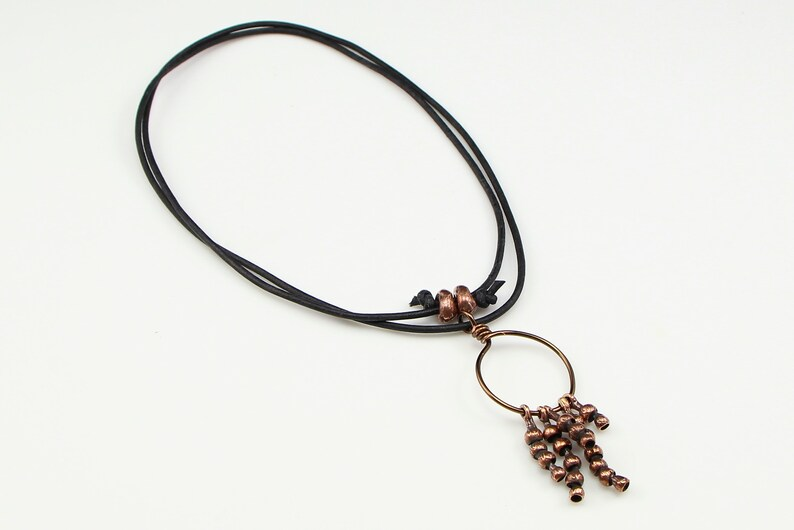 Solid Bronze Artisan Seed Pod Charms Pendant on Adjustable Black Leather Bronze Charm Pendant on Leather Cord Nature Themed Necklace