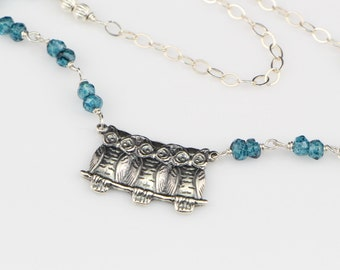 SALE...Sterling Silver Owl Trio On London Blue Hydro Quartz and Sterling Silver Chain