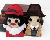 """Phryne Fisher  and Detective Inspector John """"Jack"""" Robinson  - Miss Fisher's Murder Mysteries plushie  (made to order)"""