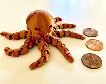 Tiny jointed Octopus, 3D printed. Fidget Spinner! Metallic Copper