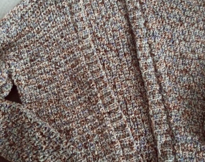 tan Handmade crocheted  cardigan in cotton blend neutral shades of light brown lightweight with a slight touch of blue
