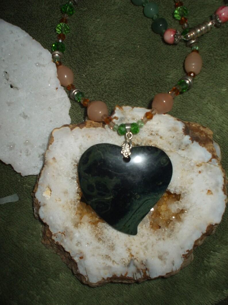 Natural healing Choker-length Natural Kambaba Jasper Heart