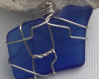 Cobalt Blue Sea Glass Pendant