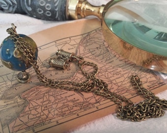 Globe Charm, with Bronze Telescope Pendant Chain Necklace -Handmade
