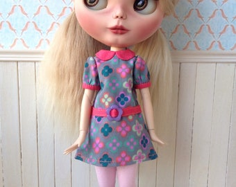 Blythe dress, retro print, sixties, also fits pure neemo size S