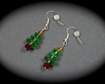 Handmade Christmas Tree Earrings, Holiday Earrings, Christmas Jewelry, Handmade Jewelry