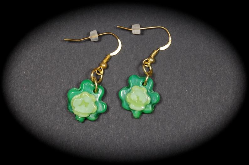 Shamrock Earrings Patrick/'s Day Earrings St Handmade Shamrock Earrings St Shamrock Earrings Patrick/'s Day Lampwork Shamrock Earrings