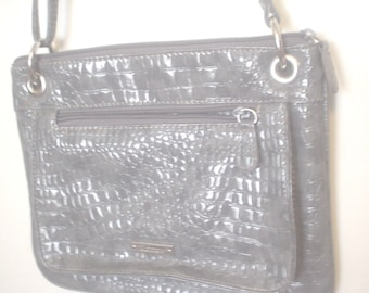 NWOT Shiny Koltov Lizard Embossed Shoulder Bag Purse Cross Body Zippered  and Opened Pockets 1980s Silvertone Ring Connection Handbag BIN 1597266b116b4