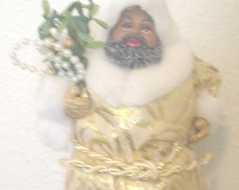 VTG Hanging Black Santa Claus Ornament Brown Santa Ornament African American Santa Decor Faux Fur Lame Jacket Pearlite Beads Arrangement