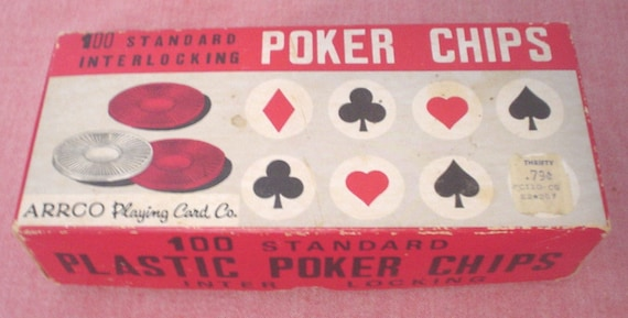 Vintage Arrco Playing Card Company blanc 100 Standard comte verrouillage en plastique Poker Chips carte Kid jeux artisanat Made in the USA EC