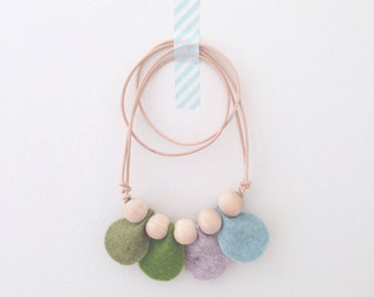 Petal Necklace - Mommy and Me Outfits - Felt and Wood Bead Necklace on Leather Cord