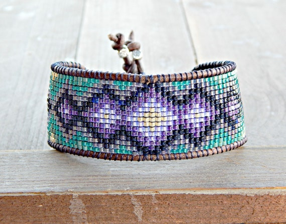 Loom Beaded Bracelet Teal White Navy Blue and Silver