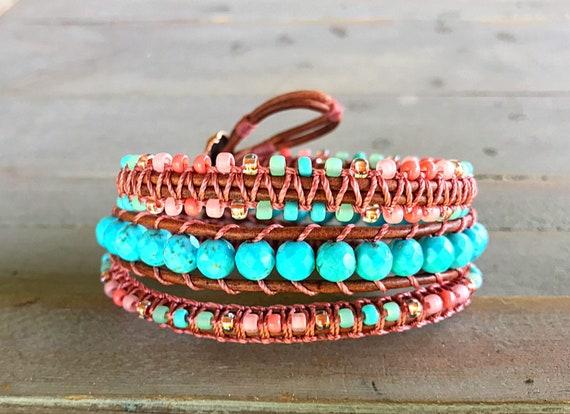 Coral Turquoise and Copper handmade Boho Bracelet bohemian macrame bracelet 3x macrame Leather Wrap Bracelet