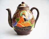 Antique Japanese Taisho period Satsuma moriage style gilded porcelain teapot with lid - Hand painded - Japanese porcelain - Brown and blue