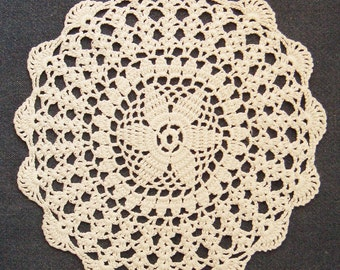 Vintage white round crochet doily