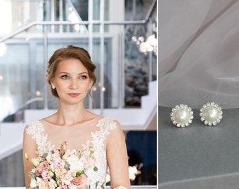 Pearl clip earrings / pearl clip on earrings silver / non pierced earrings / invisible clip earrings / clipon earrings / wedding clip on e03