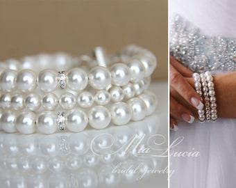 Pearl Bridal Bracelet, Pearl Wedding Bracelet, Pearl Bridal Jewelry Bracelet, White Pearl Bracelet Wedding Jewelry, Pearl Bracelet for Bride