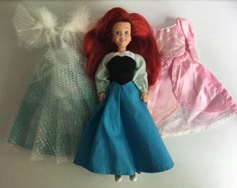 1990s TYCO Ariel The Little Mermaid Disney Princess Fashion Doll w/Dresses