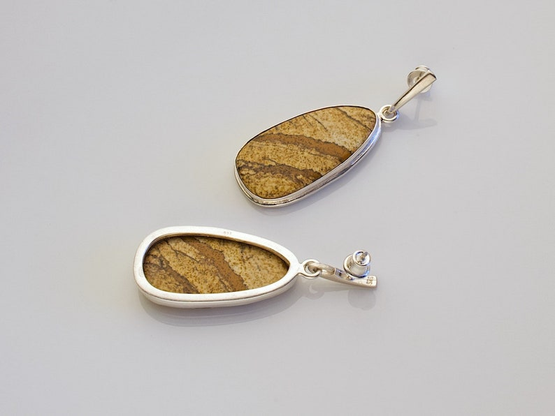 Namibian picture jasper /& sterling silver bezel dangle earrings \u2013 Fieldstone E016 Earrings