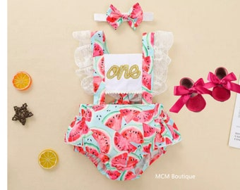 First Birthday Playsuit Birthday Watermelon Outfit Toddler Fruit Overalls Tutti Frutti Baby Romper