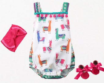Baby girl alpaca romper 6-9 month Free shipping Cotton summer gray romper Organic baby clothes Llama cotton baby dungarees Baby shower gift