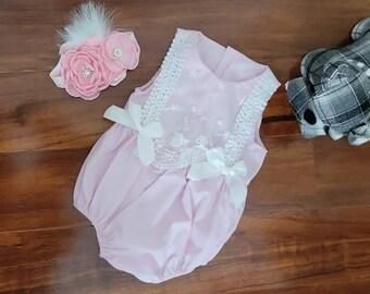 BABY GIRLS SPANISH DUSKY PINK WHITE SWAN DRESS 6 9 12 24
