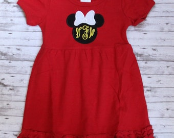 6e820853f Minnie Mouse Dress, Monogrammed little girls dress, disney dress, Girls  Disney Dress, Baby Disney Outfit