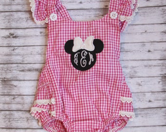 552c92eb8 Monogrammed Minnie Ruffle Romper, Baby Disney Outfit, Embroidered Romper