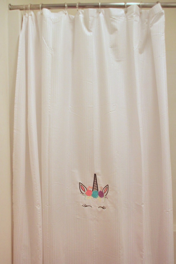 Unicorn Shower Curtain Embroidered