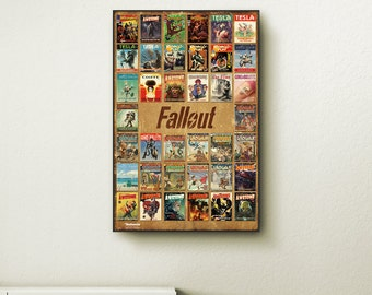 Fallout 4 Magazine Compilation wall art. Choose either a canvas, float frame, or modern frame