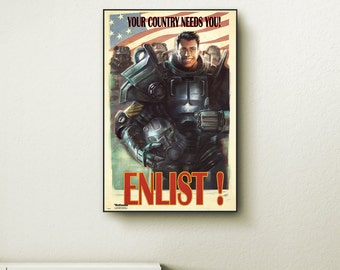 Fallout 4 Enlist wall art. Choose either a canvas, float frame, or modern frame