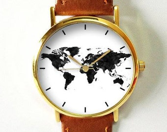 World Map Watch, Travel Map, Travel Jewelry, Travel Accessories, Travel Gifts for Womens Mens, Traveler, Wanderlust, Minimalist, Watches