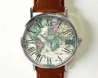 Gift for Him and Her, World Map Watch, Travel Gifts, Graduation Gift, Birthday Gift, Mens Gift, Women Gift, Vintage Map, Freeforme Watches