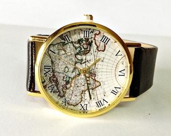 Mens Watch, World Map Watch, Watches for Men, Vintage Style Leather Watch, Women Watches, Boyfriend Watch, black Watch, Wrist Watches, Gift