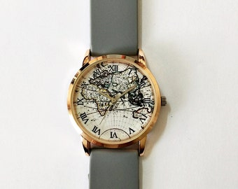 World Map Watch, Women Watches, Men's Watch, Vintage Style Watch, Unique Watches, Boyfriend Watch,Rose Gold Watch, Silicone Watch Bands, NEW