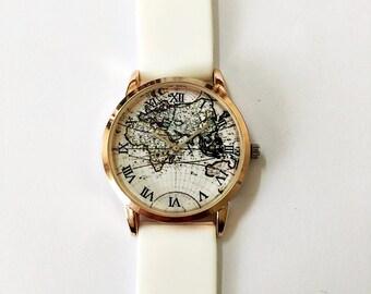 Men's Watch, World Map Watch, Women Watches, Vintage Style Watch, Unique Watches, Boyfriend Watch,Rose Gold Watch, Silicone Watch Bands, NEW