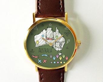 australia map watch vintage style leather watch women watches boyfriend watchmens