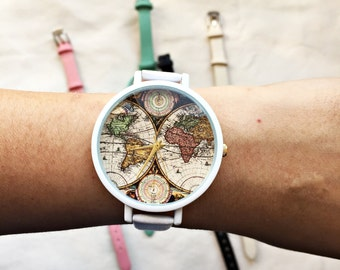 World Map Print Watch, Wrist Watch, Women Watches, Leather Watches for Women, Travel, Wanderlust, Pastel, Gift for Her, Traveler Gift, Cute