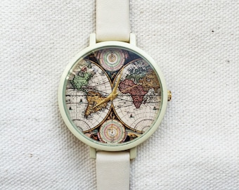 Watches for  Women World Map Leather Vintage Style Ladies Jewelry Accessories Spring Fashion 2016 Unique Gifts Cute Personalized Custom