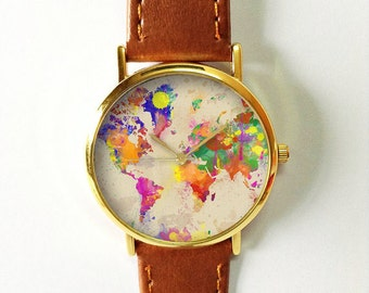 Watercolor World Map Watch, Leather Watch, Women Watches, Boyfriend Watch, Men's Watch, Vintage Style Watch, Silver Gold Rose