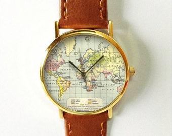 World Map Watch with Grid,  Leather Watch, Women Watches, Boyfriend Watch, Men's Watch,  Vintage Style Watch, Silver Gold Rose,Traveler Gift
