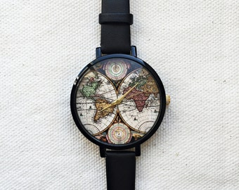 World Map Watch Women Watches Leather Vintage Style Ladies Jewelry Accessories Spring Fashion 2016 Unique Gifts Cute Personalized Custom