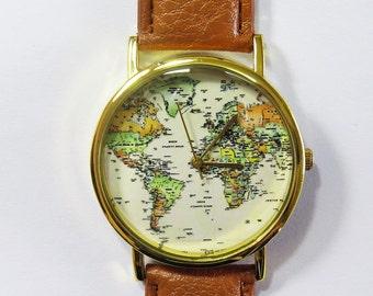 World Map Watch, Globe watch, Traveler Gift, Leather watch,Travel jewelry,Mens jewelry,Unique Watch Gift for women. Birthday gift,Wanderlust